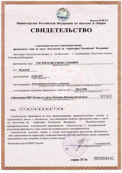 ИНН ИП Гостев П.В.